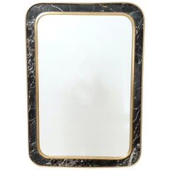 Midcentury Rectangular Wall Mirror with Brass and Black Portoro Marble Frame