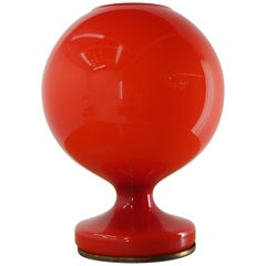 Midcentury Red All Glass Table Lamp by Stefan Tabery for OPP Jihlava, 1970s