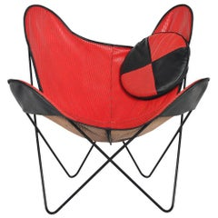 Midcentury Red and Black Vinyl Butterfly Lounge Chair