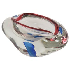 "Midcentury Red, Blue and Crystal Murano ""Sommerso"" Glass Italian Bowl, 1960"