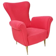 Midcentury Red Cotton Armchair with Brass Feet, Italy, 1950s