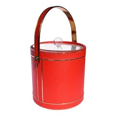 Midcentury Red Ice Bucket with Lucite Acrylic Top with Handle and Brass Details