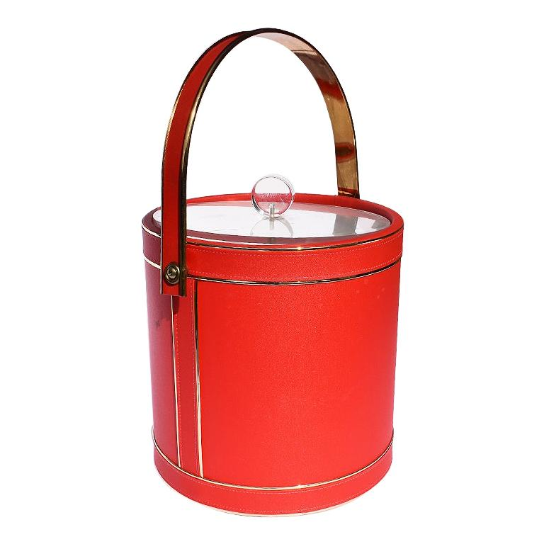Midcentury Red Ice Bucket with Lucite Acrylic Top with Handle and Brass Details For Sale