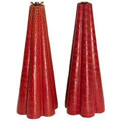 Midcentury Red Leather Table Lamps