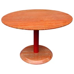 Midcentury Red Marble Side Table or Coffee Table