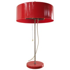 Midcentury Red Plastic Table Lamp, Czechoslovakia, 1970s