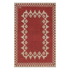 Midcentury Red Swedish Flat-Weave Double Sided Rug Signed with Initials BH
