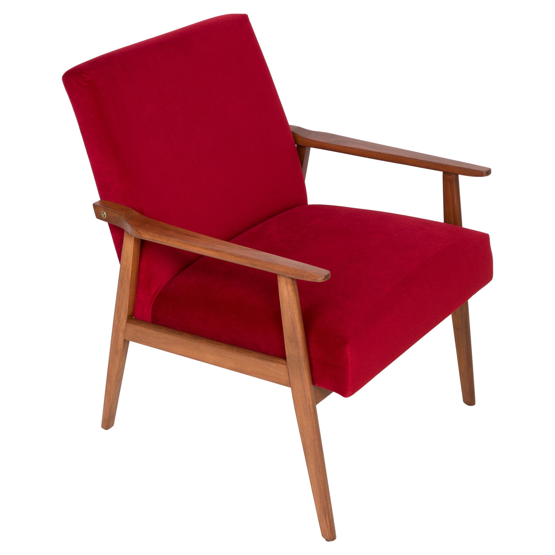Midcentury Red Velvet Dante Armchair, 1960s