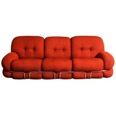 Midcentury Red Wool Blend Sofa by Adriano Piazzesi, circa 1970