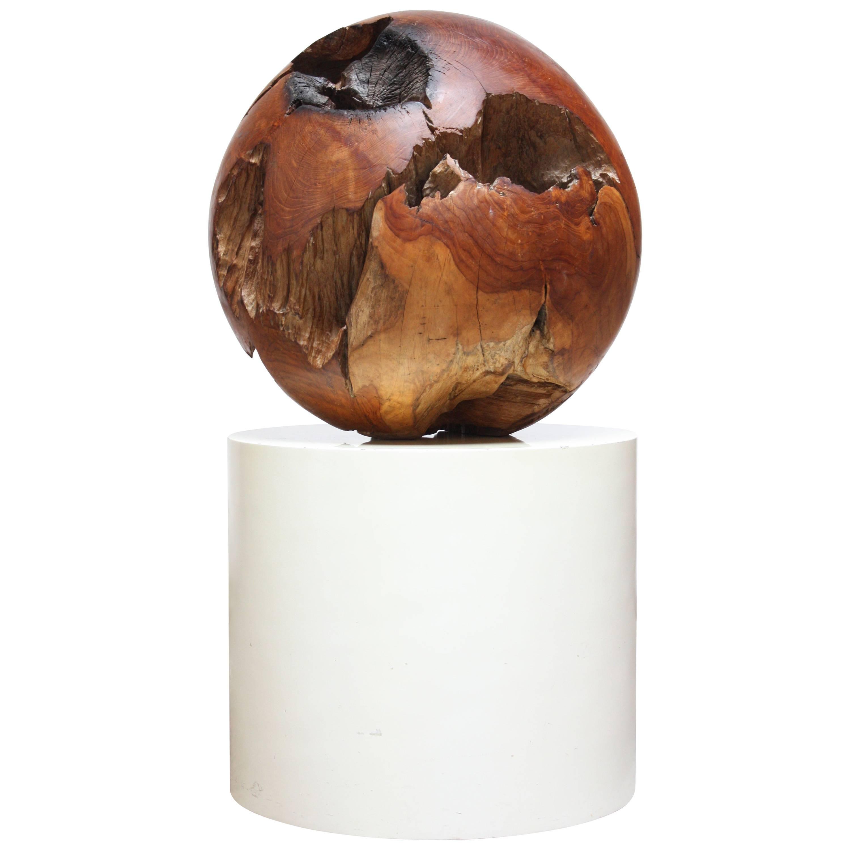 Midcentury Redwood Burl Sphere Sculpture