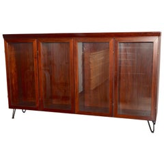 Midcentury Redwood Credenza from Skovby Mounted on High Hairpin Legs