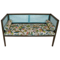 Midcentury Regency Style Newly Lacquered & Upholstered Rattan Back/ Side Settee