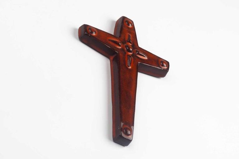 Mid-Century Modern Midcentury Religious European Ceramic Cross, 1970s For Sale