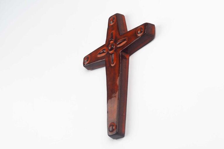 Belgian Midcentury Religious European Ceramic Cross, 1970s For Sale