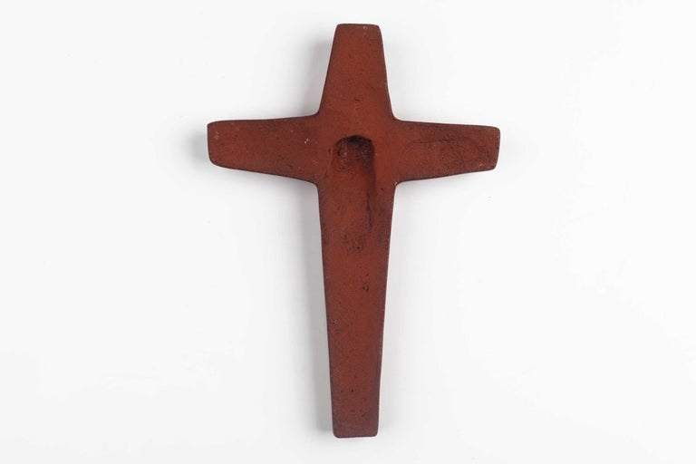 Hand-Crafted Midcentury Religious European Ceramic Cross, 1970s For Sale