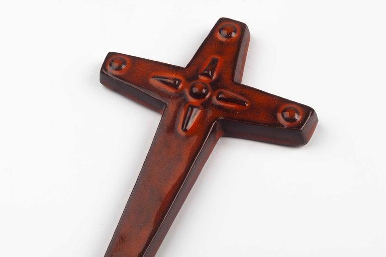 Late 20th Century Midcentury Religious European Ceramic Cross, 1970s For Sale