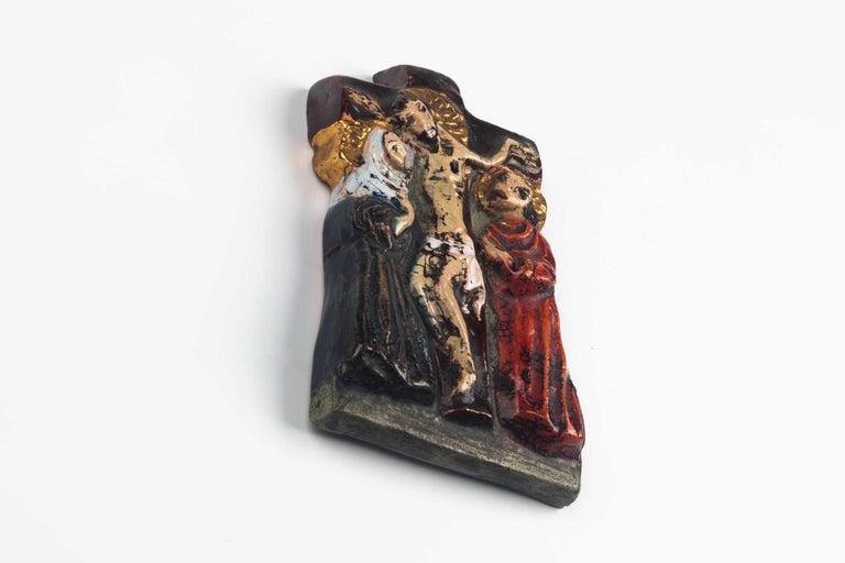 Mid-Century Modern Midcentury Religious European Ceramic Crucifix, 1970s