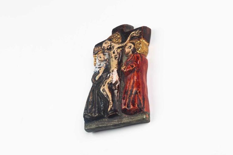 Belgian Midcentury Religious European Ceramic Crucifix, 1970s