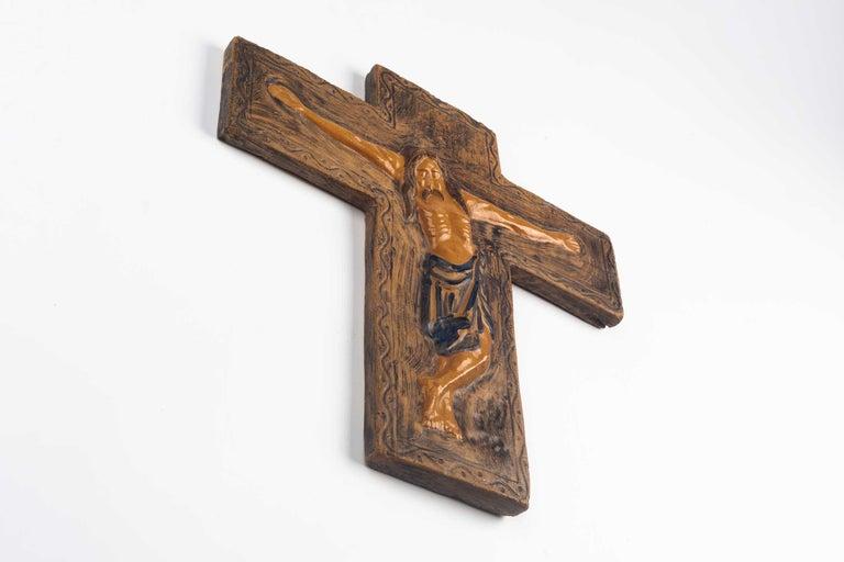 Belgian Midcentury Religious European Ceramic Crucifix, 1970s For Sale