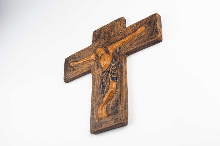 Hand-Crafted Midcentury Religious European Ceramic Crucifix, 1970s For Sale