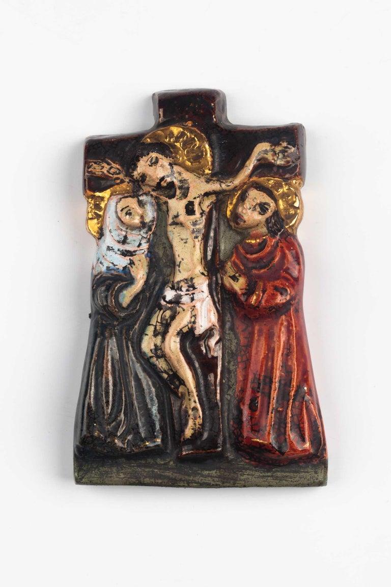 Late 20th Century Midcentury Religious European Ceramic Crucifix, 1970s