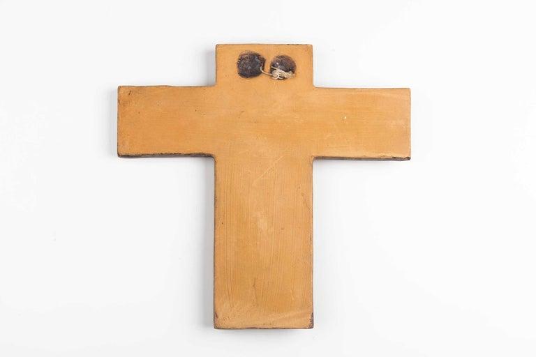 Late 20th Century Midcentury Religious European Ceramic Crucifix, 1970s For Sale