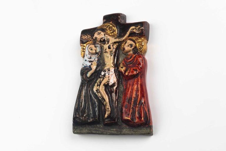 Clay Midcentury Religious European Ceramic Crucifix, 1970s