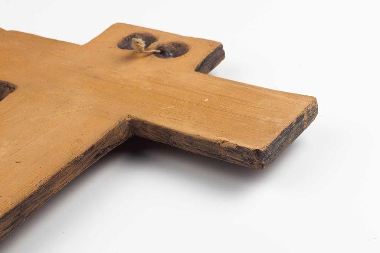 Clay Midcentury Religious European Ceramic Crucifix, 1970s For Sale