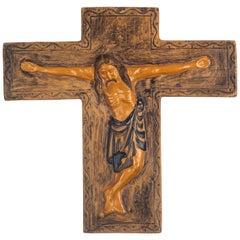 Midcentury Religious European Ceramic Crucifix, 1970s