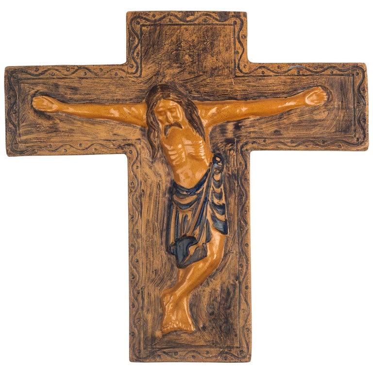 Midcentury Religious European Ceramic Crucifix, 1970s For Sale