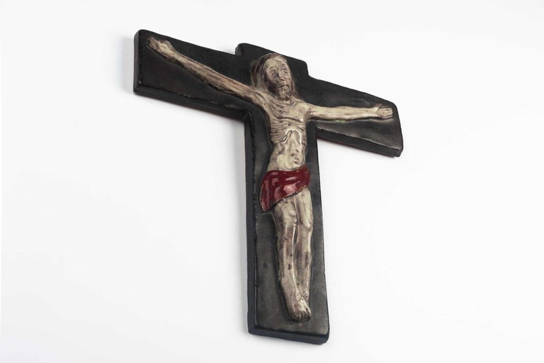 Mid-Century Modern Midcentury Religious European Crucifix, Gray, Red, 1970s For Sale