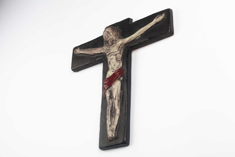 Belgian Midcentury Religious European Crucifix, Gray, Red, 1970s For Sale