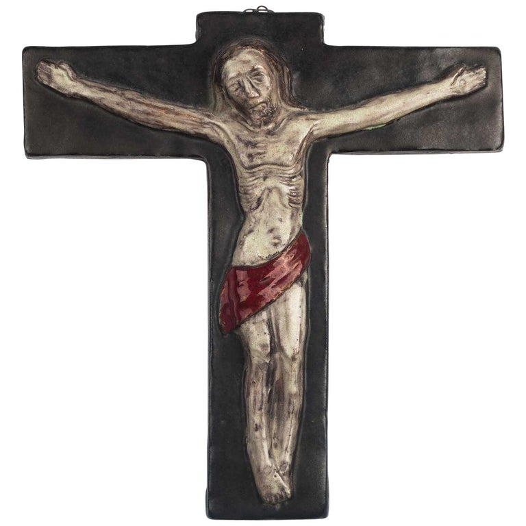 Midcentury Religious European Crucifix, Gray, Red, 1970s For Sale