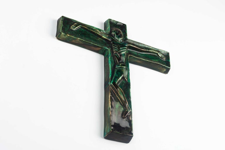 Midcentury Religious European Crucifix, Green, 1970s In Good Condition For Sale In Chicago, IL