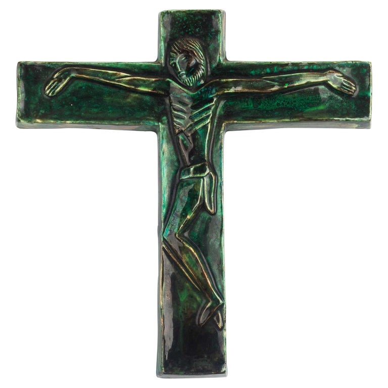 Midcentury Religious European Crucifix, Green, 1970s For Sale