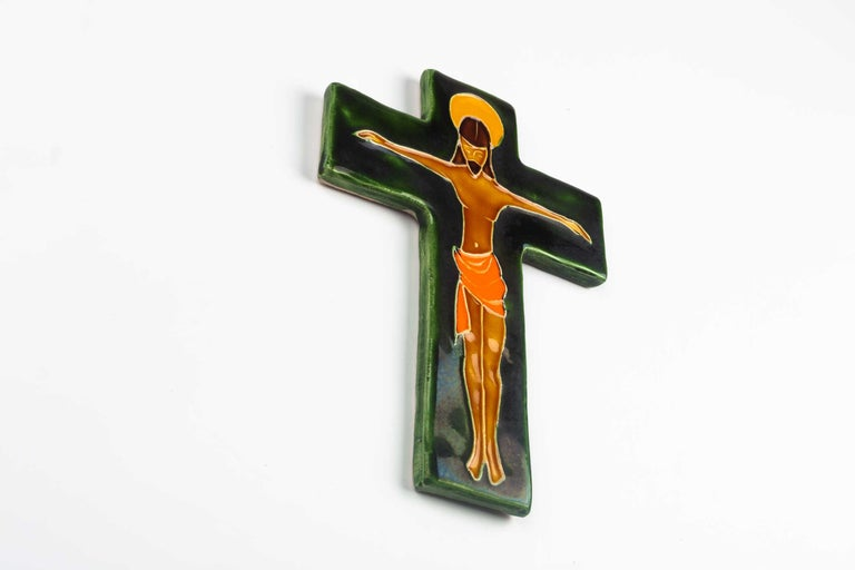 Mid-Century Modern Midcentury Religious European Crucifix, Green, Orange, Yellow, 1970s For Sale