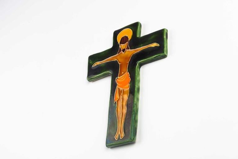 Belgian Midcentury Religious European Crucifix, Green, Orange, Yellow, 1970s For Sale