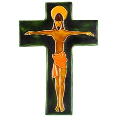 Midcentury Religious European Crucifix, Green, Orange, Yellow, 1970s