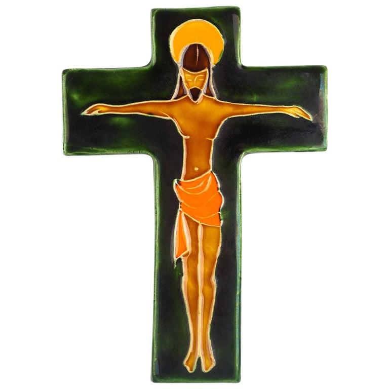 Midcentury Religious European Crucifix, Green, Orange, Yellow, 1970s For Sale