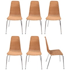 Midcentury Removable Rattan and Wicker and Chromed Metal Italian Chairs, 1970s