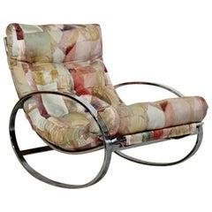 Midcentury Renato Zevi Chrome Elliptical Rocking Chair Selig Baughman Era, 1970s