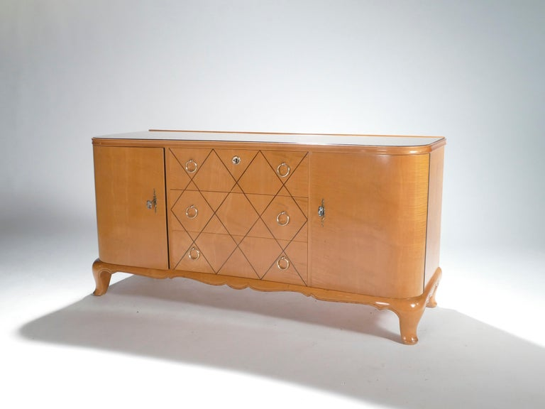 Mid-Century Modern Midcentury René Prou Sycamore Brass Sideboard Commode, 1940s For Sale