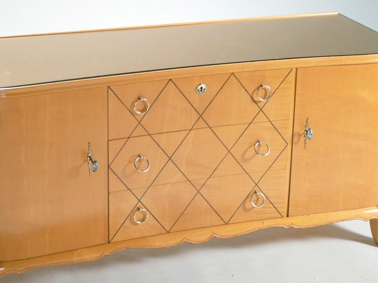 French Midcentury René Prou Sycamore Brass Sideboard Commode, 1940s For Sale
