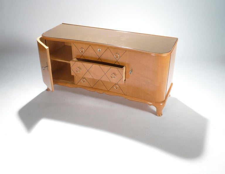 Midcentury René Prou Sycamore Brass Sideboard Commode, 1940s In Good Condition For Sale In Paris, FR