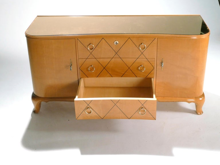 Mid-20th Century Midcentury René Prou Sycamore Brass Sideboard Commode, 1940s For Sale