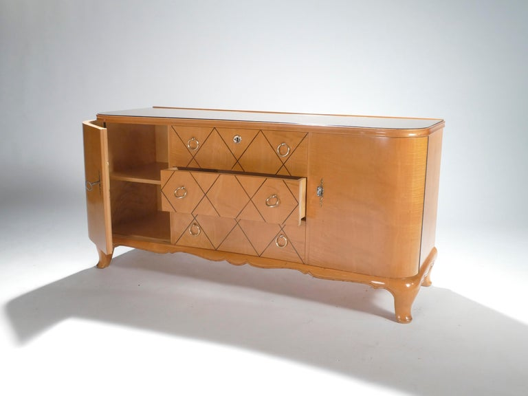 Midcentury René Prou Sycamore Brass Sideboard Commode, 1940s For Sale 1