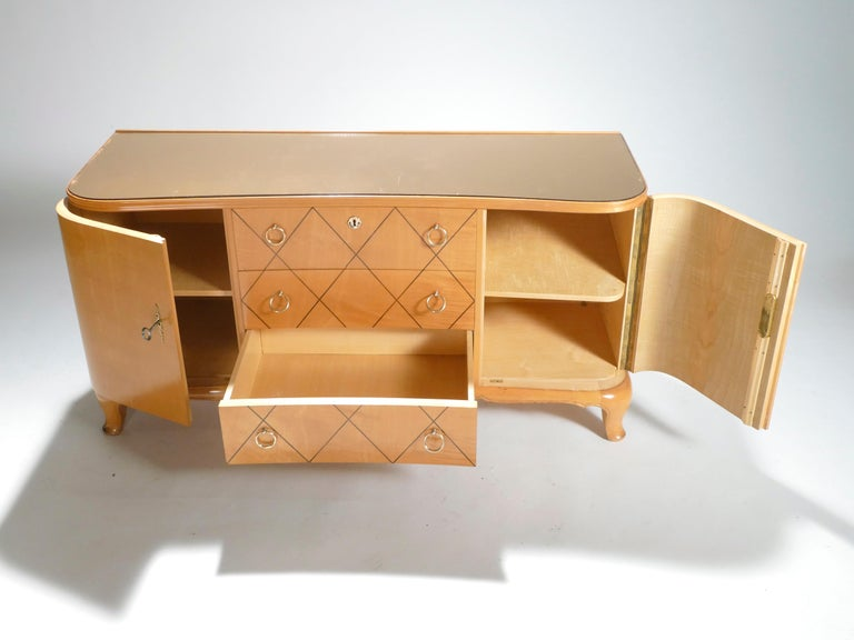 Midcentury René Prou Sycamore Brass Sideboard Commode, 1940s For Sale 2