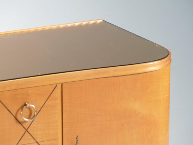 Midcentury René Prou Sycamore Brass Sideboard Commode, 1940s For Sale 3
