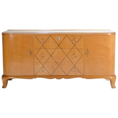 Midcentury René Prou Sycamore Brass Sideboard Commode, 1940s