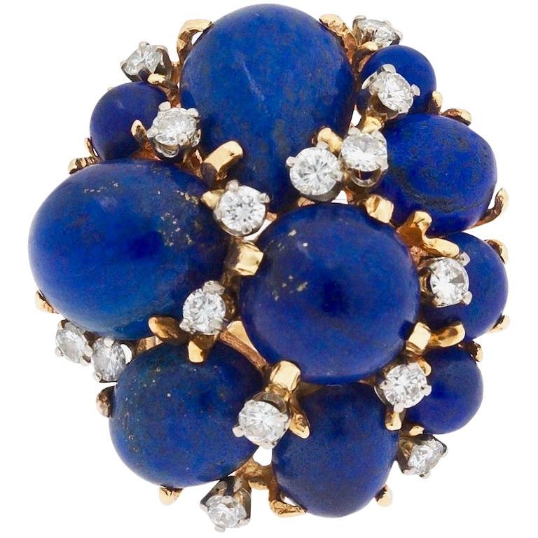 c7e8dc5d99f Midcentury Retro 14 Karat Gold Lapis Lazuli 1.00 Carat VS Diamond Cocktail  Ring For Sale